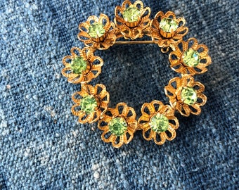 Vintage Gold Tone Brooch with Green Rhinestones-Unsigned