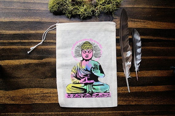 Buddha Muslin Bags - Art Bag - Pouch - Gift Bag - 5x7 bag - Crystal Pouch - Party Favor