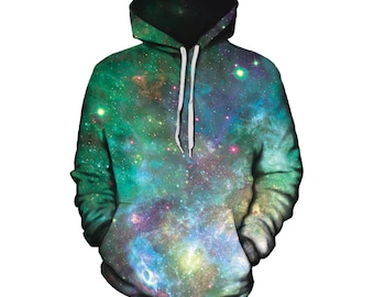 Best Space Pullover Hoodie - Galaxy Pattern - Festival Clothing - Printed Clothing - EDM Rave