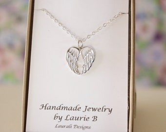 Double Angel Wing Charm Necklace, Friendship Gift, Sterling Silver, Bestie Gift, Winged Heart, Thank you card, Delicate Angel Wing Silver