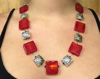 The Rita. Red glass and silver filigree beaded necklace// statement// chunky// bold