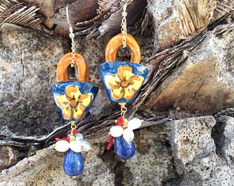 Sicilian Jewelry - Hand-painted Caltagirone Ceramic Handbag Pendant Earrings