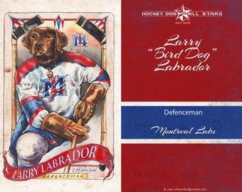 Vintage Labraor Hockey Dog Art Print - Montreal