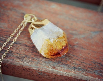 "Raw Citrine Gemstone Point Pendant - Gold Plated on 18"" 14K Gold Filled Chain, Orange Stone Necklace"