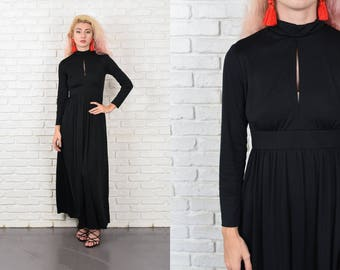 Vintage 70s Black Maxi Dress Mod Cutout Turtleneck Long Sleeve Party XS 10488