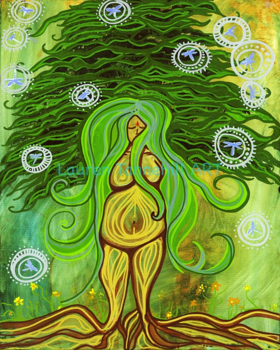 8x10 Giclee Print Pregnant Goddess Rooted Tree Birth and Labor Enlightened Art by Lauren Tannehill ART