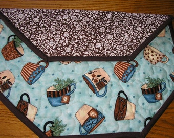 Quilted Table Runner, Coffee Print Topper, Coffee Themed Decor, 17 x 17 inches