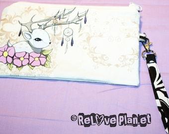 Dreamcatcher Fawn - Clutch bag Purse Wristlet - Zippered Pouch - Cosmetic pencil school - Bianca Loran Art
