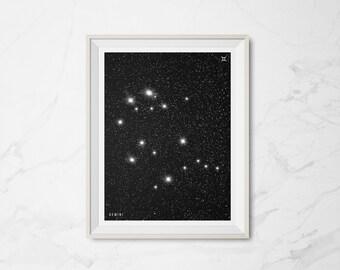 GEMINI  |  Minimalist Astrology Zodiac Constellation Digital Art Print