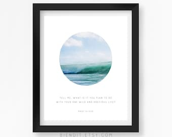Wild and Precious Life, Poetry, Mary Oliver, Quote Print, Typography, Skyscape, Inspirational Quote, Hot Air Balloon, Minimalist Art