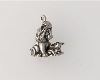 Sterling Silver 3-D Lion & the Lamb Charm