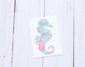 Seahorse Decal, Seahorse Decor, Nautical Decal, Nautical Vinyl Decal, Beach Car Decal, Beach Decal, Custom Vinyl Stickers, Decal for Yeti