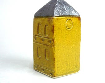 Miniature Building , Yellow House  , Townhouse , Small Square Home