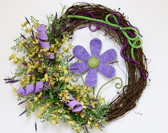 Spring Flower Wreath, Summer Flower Wreath, Flower Wreath, Summer Wreath, Deco Mesh Ribbon, Grapevine Wreath, Mother's Day Wreath