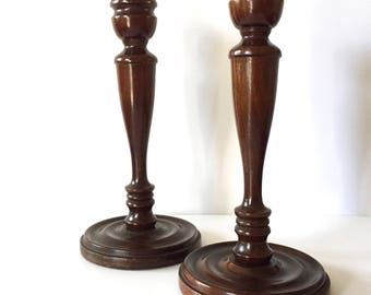 Pair of 1920s Vintage Turned Walnut/Wood Candlesticks/Candleholders