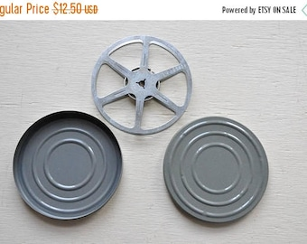 ON SALE Vintage Gray Film Reel and Canister