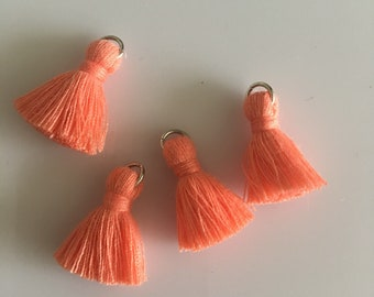 4 peach mini tassels