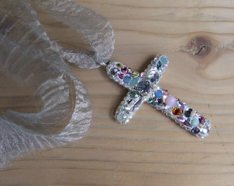 LIKE A VIRGIN.cross pendant.Brides. wedding. white pendant.