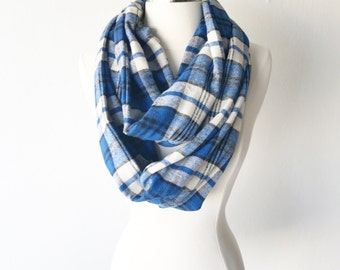 Blue Plaid Flannel Infinity Scarf - Handmade - Preppy, Classic, Edgy, Boho, Soft, Warm - Gift for Her, Birthday, Fall Fashion, Chic