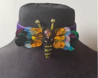 Purple Velvet Bumble Bee Choker