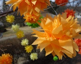 "Four (4) Orange Sherbet & Silver Medium CONNECTING PuffScape DIY Tissue Paper Flower Pom Pom Puffs 12"" Wired Beach Citrus Grove Wedding"