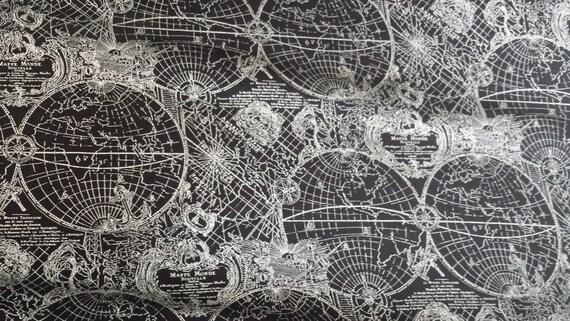 Metalic silver gilt on black globe new world map fabric by kanvas metalic silver gilt on black globe new world map fabric by kanvas 1 yard from sewcherie on etsy studio gumiabroncs Gallery