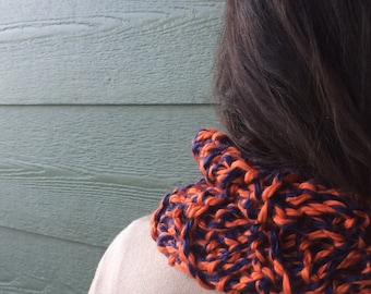 Scarf Team spirit Orange blue chunky scarf sports fan Cowl crochet Fall Winter Accessories