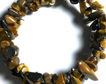 Natural Tiger's Eye Memory Wire Bracelet
