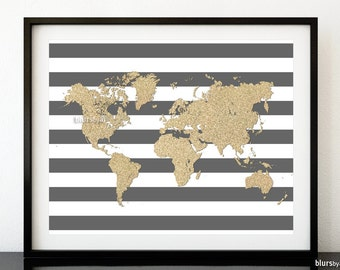 World map pdf poster etsy 20x16 printable world map golden glitter map print gold and stripes gold gumiabroncs Image collections