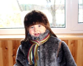 Kids sheepskin fur hat Soviet vintage kids fur hat Kids cheepskin hat Vintage kids cheepskin hat Kids cheep fur hat Retro kids winter hat