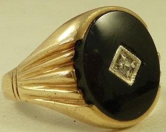 9K Heavy Gold Black Onyx Cut Gem Inlaid Ring Vintage 60s