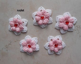 white crochet flower/crocheted flowers,cotton flower,applications flower