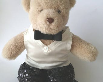 Teddy Bear Clothes, 'Anton' Beaded Top, Sequin-look Pants and Tie - Tuxedo Style Set