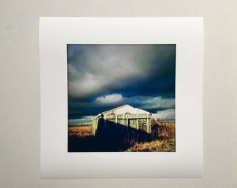 Fineart Photo Shelter-wood-clouds-landscape-Hahnemuhle Photorag paper