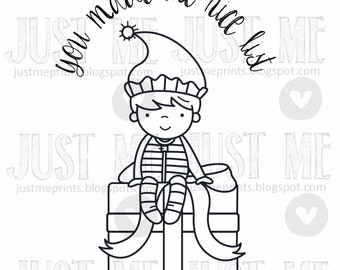 Christmas boy elf digital stamp