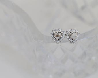 SALE - Pretty Sterling Silver & Cubic Zirconia Heart Stud Earrings - Perfect for Brides!
