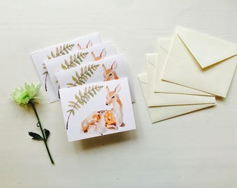Deer and Fawn Greeting Card- Set of 4