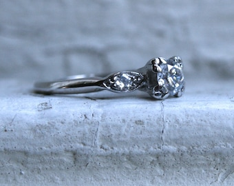 Great Vintage 14K White Gold Diamond Three Stone Engagement Ring - 0.52ct.