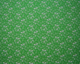 SALE Green and White Calico Quilting Fabric By the Yard