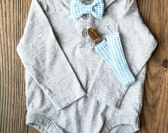 Blue Plaid Bow Tie - Easter Bow Tie Baby