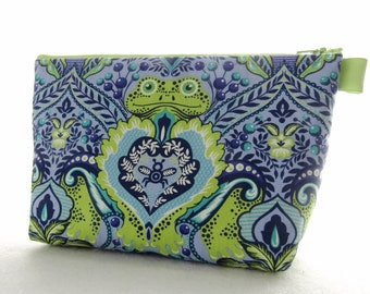 X Large Tula Pink Fabric Cosmetic Bag Zipper Pouch Padded Makeup Bagk Zip Pouch Frog Prince All Stars Blue Orchid Blueberry  Lime