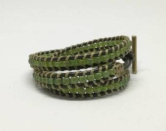 triple wrap bracelet, adjustable, green glass seed beads/ green leather