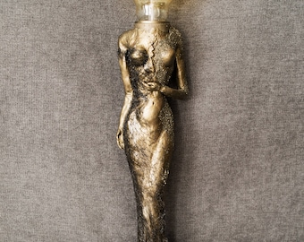Antique Gold Woman Statue Crushed Pyrite Lamp