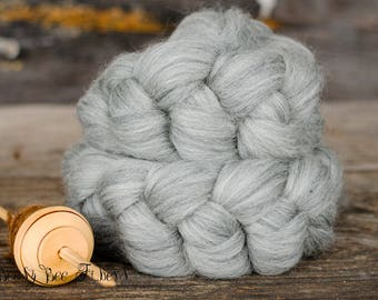 GRAY CORRIEDALE Wool Roving Undyed Combed Top Natural Ecru Spinning Felting fiber- 4 ounces