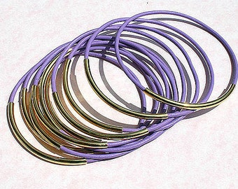 10 Leather Bangles Bracelets Lilac Leather  FREE SHIPPING