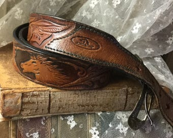 Vintage Brown Leather Jordache Belt Tooled Horse Head Ornate Buckle Softened 38 to 41 Inches Leaf Pattern Gold Tone Buckle Mustang Horsey
