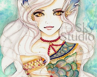 ORIGINAL ART Beautiful Mermaid Queen Geisha Prints