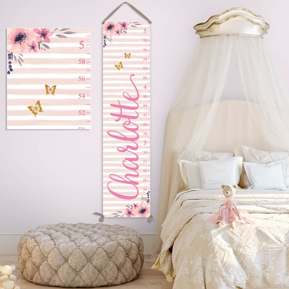 Girl Growth Chart - Personalized Canvas Growth Chart with Watercolor Flowers, Gift for Toddlers, Personalized Gift - GC2041P