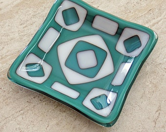 Teal and White Fused Glass Dish with Geometric Design