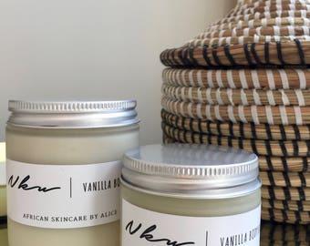 Nku home made whipped vanilla shea body butter. Great moisturizer for dry skin